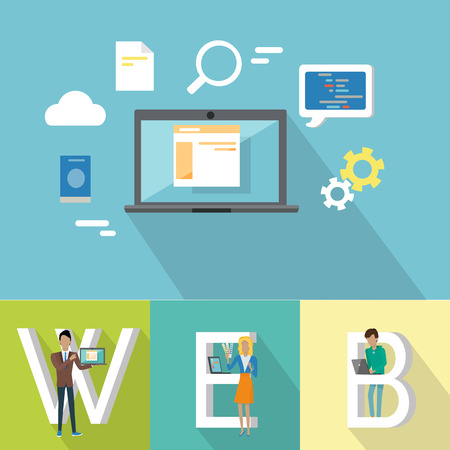 laptop mobile: Web design banner. People with laptops standing near letters. Laptop on blue background with design pictograms. Website development project, mobile and desktop website design development process