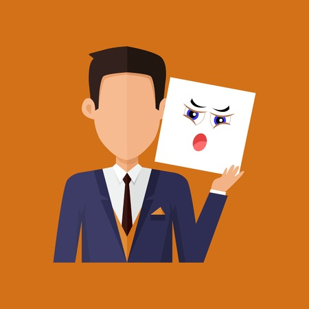 in amazement: Man character avatar vector. Flat style. Male portrait with indignation, amazement, shame, frustration, irritation, anger, emotional mask. Illustration for identity in Internet, mood concepts icons
