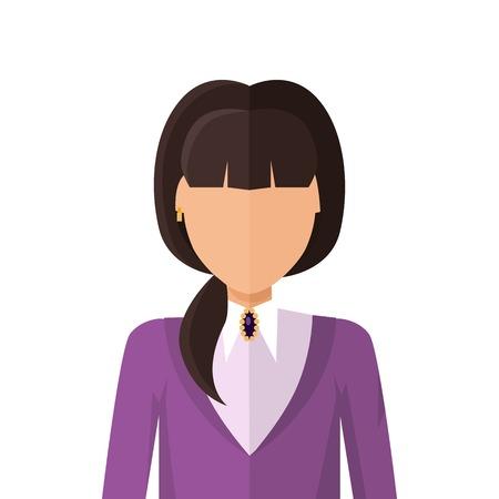arbitrario: Mujer personaje avatar del vector en el diseño de estilo plano. COLOR1 icono de personaje retrato femenino. Ilustración para la identidad en Internet, conceptos, pictogramas de aplicaciones, infografía. Aislado en el fondo blanco.
