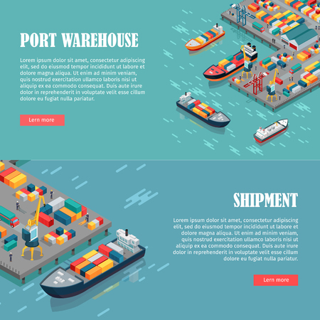 Port warehouse and shipment banner. Cargo containers transshipped between transport vehicles, for onward transportation. Platform supply vessel. Logistic support of goods, tools, equipment. Vector Illustration