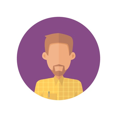 Man character avatar vector in flat style design. Bearded male personage portrait icon in violet circle. Illustration for concepts, app pictograms, infographic. Isolated on white background. Çizim