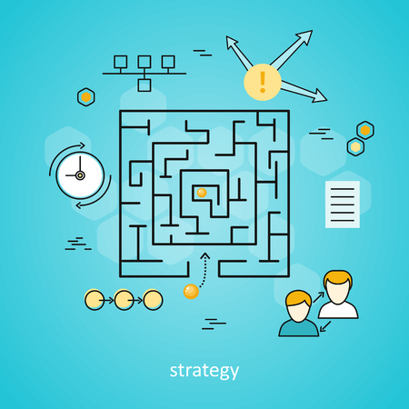 realization: Strategy business background with different suitable elements. Square labyrinth with yellow balls on blue background. Concept of online business, business analysis, business strategy, brainstorm Illustration