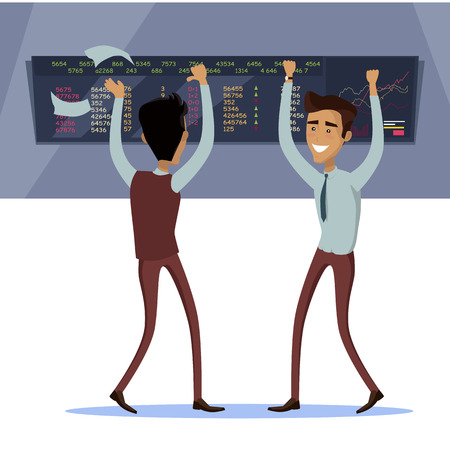 brokerage: Business team work success concept. Online trading. Brokerage trading on the stock exchange vector in flat style design. Two businessman s enjoys success deal on stock market illustration.