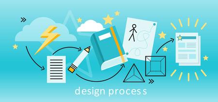 Ontwerpproces banner flat concept. Proces en de procedure voor de oprichting van nieuwe creatieve vormgeving. Traject van idee tot eindproduct projecten. Tekening in potlood op een vel papier. illustratie