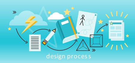 Design process banner flat concept. Process and procedure for the establishment of new creative design. Path from idea to finished projects. Drawing in pencil on sheet paper. illustration Illustration