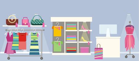 Boutique concept vector. Flat design. Woman s clothes shop interior. Hangers with dresses and blouses, handbags, mannequin and seller s place. Picture for flayers, visual ad, web design. Vektoros illusztráció