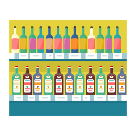 grocery shelves: Shelves with drinks in grocery store. Vector in flat style design. Showcase with alcohol and beverages in supermarket.  Assortment, shop equipment, merchandising strategy concept. Illustration