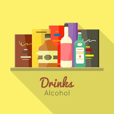 stimulant: Drinks alcohol vector concept in flat design. Liqueur, wine,whiskey, brandy illustrations for beverages concepts, grocery store advertising, icons, infograqphic element. Isolated on white background. Illustration