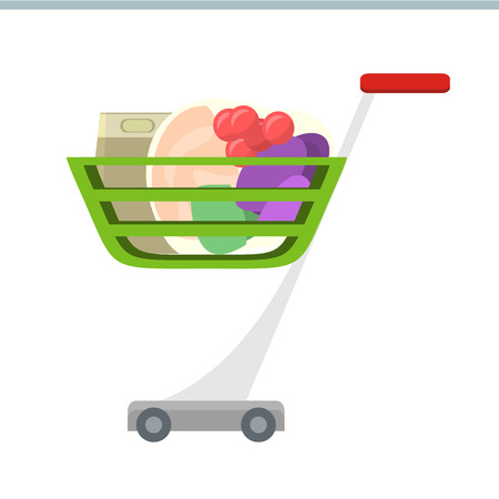retail shopping: Shopping cart with products vector in flat style design. Supermarket equipment for goods transportation. Illustration for grocery store, retail companies advertising, icon for shopping services.