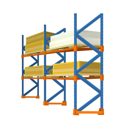 retail equipment: Warehouse racks with boxes and crates. Vector in isometric projection. Equipment for storage products in stock. Illustration for delivery, postal, retail companies and services ad  Isolated on white Illustration