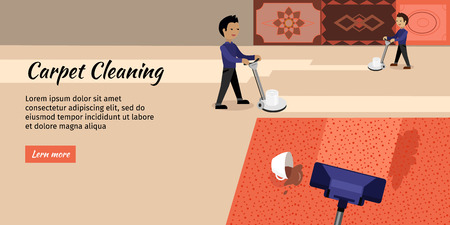 hoover: Carpet cleaning service banner. Man in uniform cleaning carpet with commercial cleaning equipment. Carpets chemical cleaning with professionally disk machine. House cleaning concept in flat.