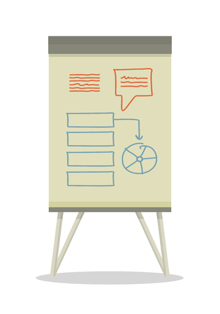 information  isolated: Whiteboard with infographics. Board at a presentation with diagram. On whiteboard show analytical information. Development of algorithm steps. Isolated object in flat design on white background.