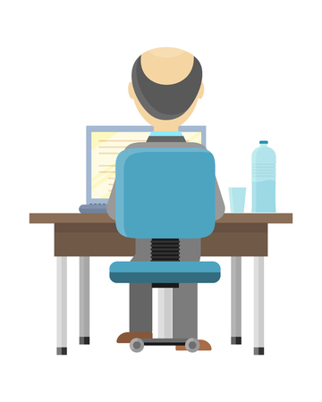 couching: Bald man sitting at a desk and working on the computer, back view. Workplace, make money online, e-business, e-learning, concept. Man busy working on laptop computer. Vector illustration in flat.