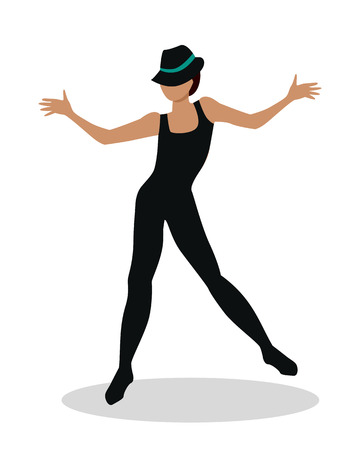 choreographer: Jazz dancer in hat and long black suit. Tap Dance, Jitterbug, Swing dance, Lindy Hop, Modern jazz dance. Person entertain public on the fashion show at musical party. Fashion event. Vector