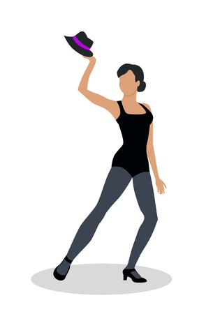 jazz dancer: Jazz dancer in black tights launches with a hat. Dance to jazz music, including both tap dance and jitterbug. Graceful girl dance in tight cloth. Culture and entertainment. Vector illustration