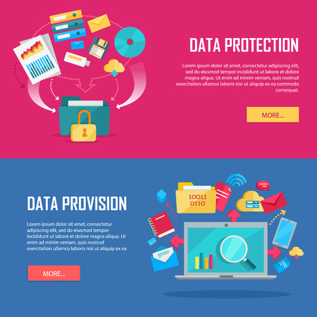 Data protection, provision web banners. Flat style. Folder secured by lock, laptop, phone, documents with indexes, binders, e-mail, letters, cloud, discs icons. For cloud services encryption app ad