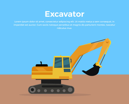 Excavator vector banner. City building flat design concept. Construction machine in career. Extraction, transport, moving materials, earthworks illustration for advertise, infographic, web design.