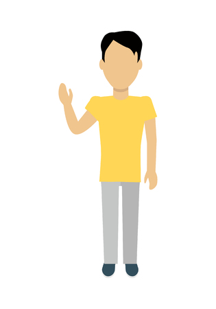 Male character without face in yellow t-shirt vector in flat design. Man template personage figure illustration for concepts, mobile app pictogram, logos, infographic. Isolated on white background.