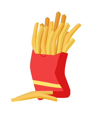 French fries icon. French fries in red fry box on white background. Potato chips. Bowl of french fries in flat. Vector illustration of delicious tasty fast food.