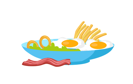 Fried eggs with bacon, fries and salad on the plate isolated on white. Traditional English breakfast. Two fresh cooked eggs with pork served on the dish. Nutrition food concept. Vector illustration