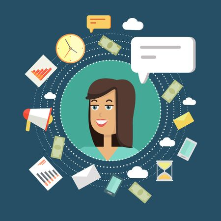young businesswoman: Creative office background. Businesswoman icon with bubble. Avatars of woman with devices for communication. Smiling young female personage in flat on blue background. Vector illustration.