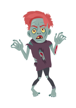 killed: Scary zombie walking. Frightening dead man with red hair, grey skin, blood stains, bones dressed in tatter flat vector illustration isolated on white background. Horror character for Halloween concept