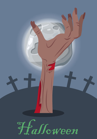 arises: Halloween mystical concept. Zombie hand sticking out from the ground on cemetery the night of the full moon flat vector illustration. Human limb appear from the grave. Undead monsters arises to world