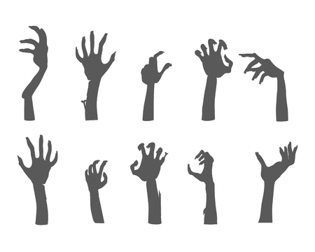 arises: Zombie hands sticking out from the ground. Various damaged and dried human limbs appear from the grave flat vector illustrations isolated on white. Undead arises on cemetery. For Halloween party decor