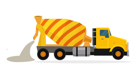 Concrete mixing truck vector. Flat design. Industrial transport. Construction machine. Yellow lorry with mixer pour out cement. For construction theme illustrating, building companies ad. On white Иллюстрация