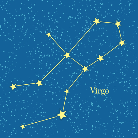 Virgo zodiac symbol on background of cosmic sky. Sixth astrological sign in the Zodiac, originating from the Virgo constellation. Horoscope sign of zodiac. Astrology and mythology concept. Vector Illustration