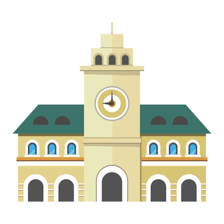 Urban city illustration. Government building with clock. Three storey building with windows in arc form. Tower with big clock in the center of the building. Vector illustration in flat style
