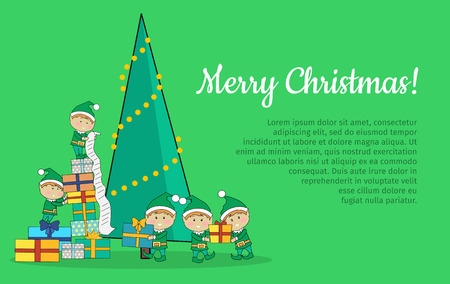 according: Merry Christmas web banner. Christmas elves packing presents gift boxes according to wish list. Xmas holiday tree on background. Magic eve. New year and xmas concept. Cartoon flat style. Vector