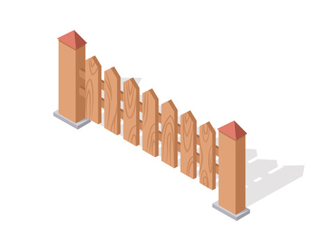 superstructure: Wooden fence isolated on white. Gates and fences in flat style design. Isometric projection. Barrier for countryside yard. Wooden fence with columns. Fence made of wood icon. Vector illustration