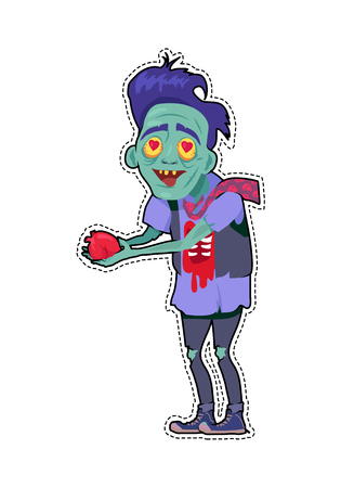 Scary zombie valentine. Dead man with grey skin, in torn clothes standing with tear out heart in hands, bouquet of flowers lying in a pool of blood vector. Fashion patch in cartoon 80s-90s comic style