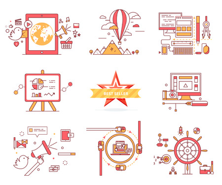 chat icons: Set of web icons in flat style. E-commerce. Travelling on balloon, computer technologies, diagrams and charts, best seller, communication system, chat sign, vector infographics, online games concept. Illustration