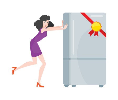 freezer: Woman buys refrigerator electronic device at big sale for discount price. Household appliances freezer. Fridge home appliances flat style. Icebox, magnet fridge door, sale fridge. Vector illustration Illustration