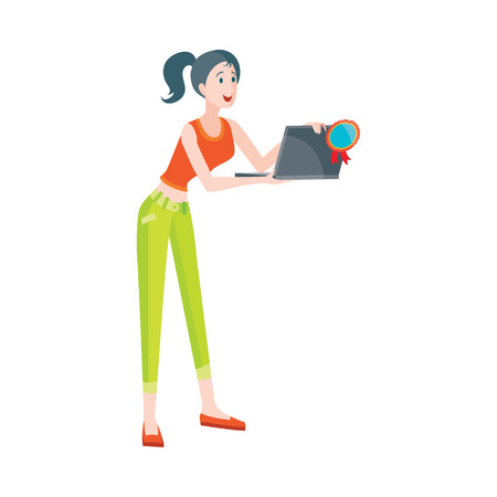 Woman buys notebook at discount price. Illustration in flat style design. Household appliances sale. Best price on laptops. PC with clamshell, alphanumeric keyboard and thin LCD or LED screen. Vector