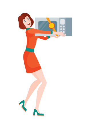 heats: Woman buys microwave oven at sale on discount price. Super sale on kitchen appliances in flat style design illustration. Microwave heats and cooks food by exposing it to microwave radiation. Vector