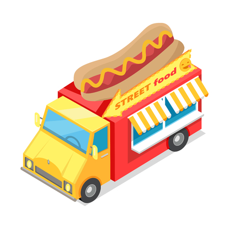 snack bar: Street food. Eatery on wheels with hotdog on roof isometric vector illustration isolated on white background. Bright Van food store with signboard. For cafe, snack bar web page design