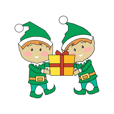 mythical festive: Christmas elves holding gift box. Two xmas cartoon characters carrying new year present. Santas helper elf isolated on white. Winter season holiday greeting card banner poster design. Vector Illustration