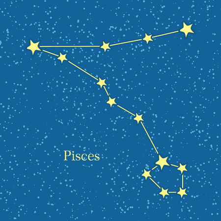 originating: Pisces zodiac symbol on background of cosmic sky. Twelfth astrological sign in the Zodiac, originating from the Pisces constellation. Horoscope sign of zodiac. Astrology and mythology concept. Vector Illustration