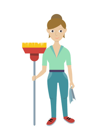 hotel staff: Cleaning service. Female member of the cleaning service staff with broom and duster. Worker of cleaning company. Successful housekeeping company banner. Office and hotel cleaning. Vector illustration