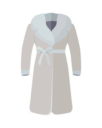 warm clothing: Warm coat with fur on neck vector. Flat style. Elegant woman s beige fur coat with bow on belt. Luxury clothing for winter seasons. Outerwear for cold weather. For store ad, fashion concept. On white