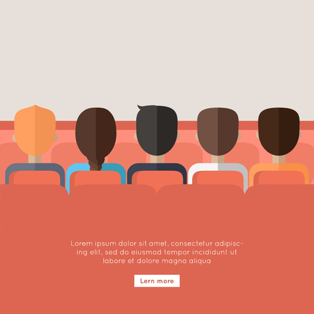 sucessful: Cinema. Whatching online encouraging movie about sucessful team work. Rising leadership qualities among the employees. New information. Part of series of successful leadership in team working. Vector