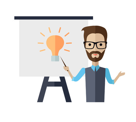 couching: Successful young man with glasses making a presentation near whiteboard with infographics. Coaching and shows business charts and graphs. Business seminar. Board at a presentation with information