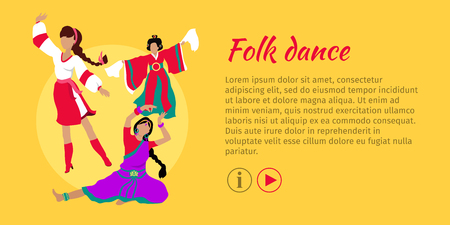 Folk dance concept web banner. Flat vector. Three women in ukrainian, indian, chinese national clothes dancing. Traditional choreography. For dancing school, party, event, festival web page design Illustration