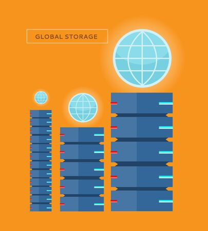 computer animation: Global storage web banner in flat style. Cloud information saving. Servers, globe, satellite, computer networks icons. Illustration for video presentation or corporate ad animation clip