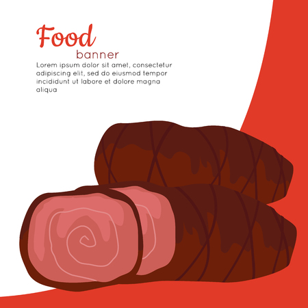 meat diet: Food banner. Grilled delicious meat. Junk unhealthy food. Consumption of high calories nourishment food. Food that leads to overweight. Part of series of promotion healthy diet and good fit. Vector