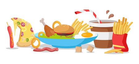 fried food: Tasty fast food banner. French fries, hot dog, pizza, cola, hamburger, fried eggs, chicken leg, bacon, cereals. Different fast food products on table. Fast food menu Vector illustration