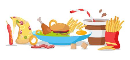 Sabrosa bandera de comida rápida. papas fritas, perros calientes, pizza, refrescos de cola, hamburguesas, huevos fritos, muslos de pollo, tocino, cereales. Diferentes productos de comida rápida en el vector. menú de comida rápida ilustración vectorial